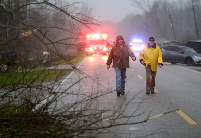 A tornado crossed the Bibb County Highway 6 south of Centreville, Alabama, on Thursday, March 25, 2021.
