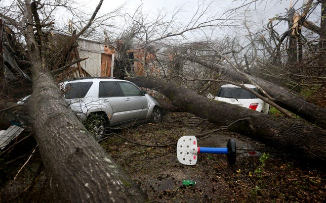 A mobile home was destroyed after a tornado crossed touched down south of Centreville, Alabama, on Thursday, March 25, 2021.