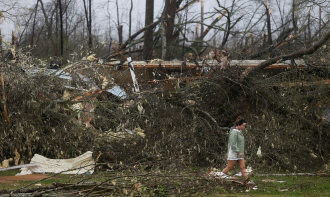 A tornado touched down south of Centreville, Alabama, on Thursday, March 25, 2021.