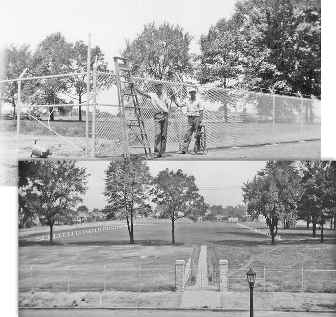 Workers funded by the depression-era Works Progress Administration program are shown starting work on the tennis courts, ticket office and concession stand and at the stadium at Grandview Heights High School.