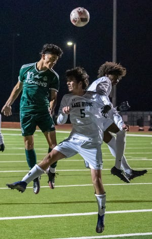 Waxahachie's Bryan Dominguez (10) heads the ball during a recent home soccer game.  Dominguez scored the winning goal on Thursday night at Waco Midway's Panther Stadium as the Indians defeated Belton, 1-0, in the bi-district round of the Class 6A Region II playoffs.