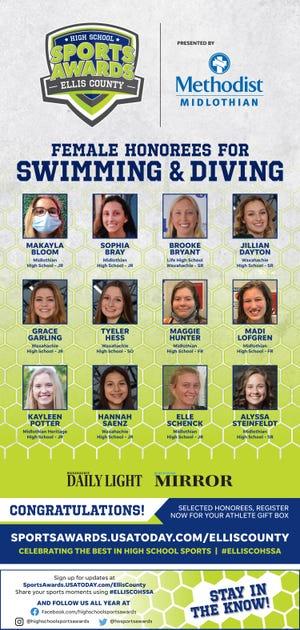 The 2020-2021 Ellis County High School Sports Awards girls'' swimming team.