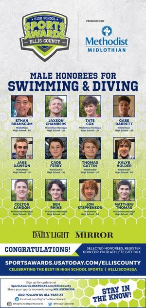 The 2020-2021 Ellis County High School Sports Awards boys' swimming team.