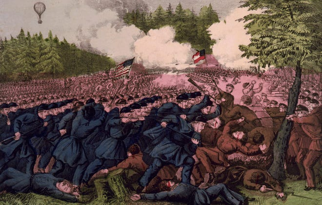 Currier & Ives depicted the Battle of Fair Oaks, the alternate name of the Battle of Seven Pines.