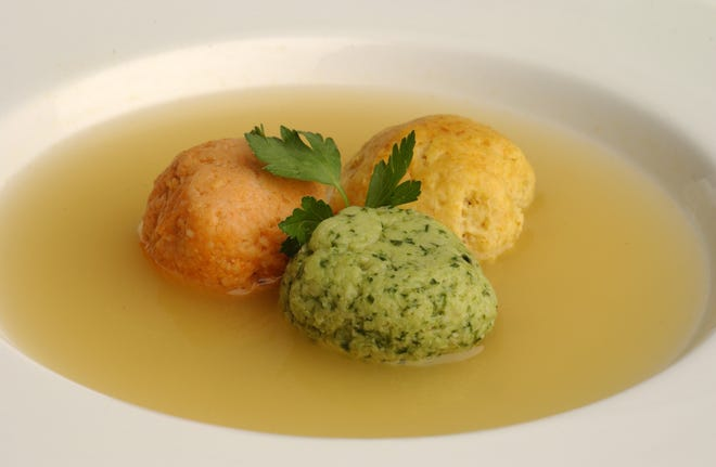 Tri-color Matzo Balls in a chicken soup