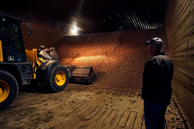 In a March 11, 2021, photo, potato farmer Brian Sackett watches as potatoes are moved from a storage bin at his farm in Mecosta,