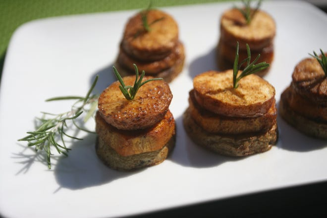 Spicy Potato Stacks can be served for a Passover dinner.