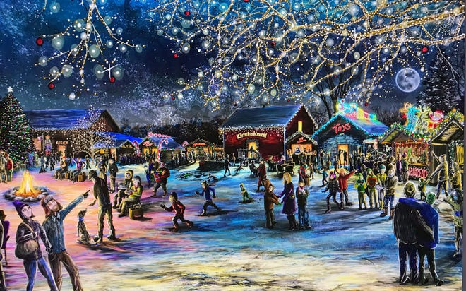 This painting by Joseph Risch commissioned by the Sister Bay Historical Society represents what the first-ever Door County Christkindlmarkt could look like when it takes place over three weekends in November and December at Corner of the Past Museum. The outdoor, German-style holiday market is expected to bring an estimated $234,600 in visitor spending to the area.