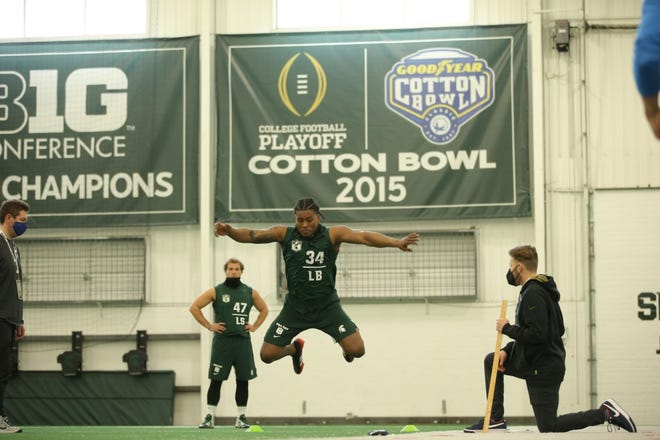 Michigan State linebacker Antjuan Simmons tested at 9 feet 4 inches in the broad jump at Michigan State's pro day.