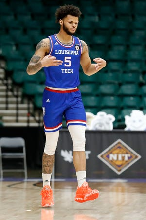 Louisiana Tech's Kalob Ledoux after scoring three points against Western Kentucky during the quarterfinal round of the NIT basketball on March 25, 2021.