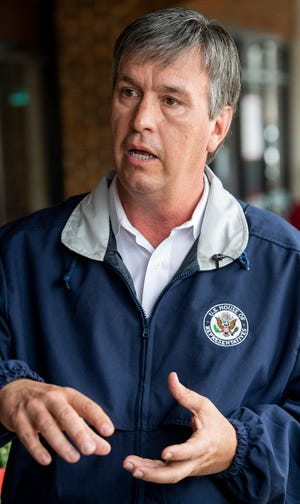 U.S. Rep. Barry Moore makes a stop at Chappy's Deli in Montgomery, Ala., on Friday March 26, 2021.