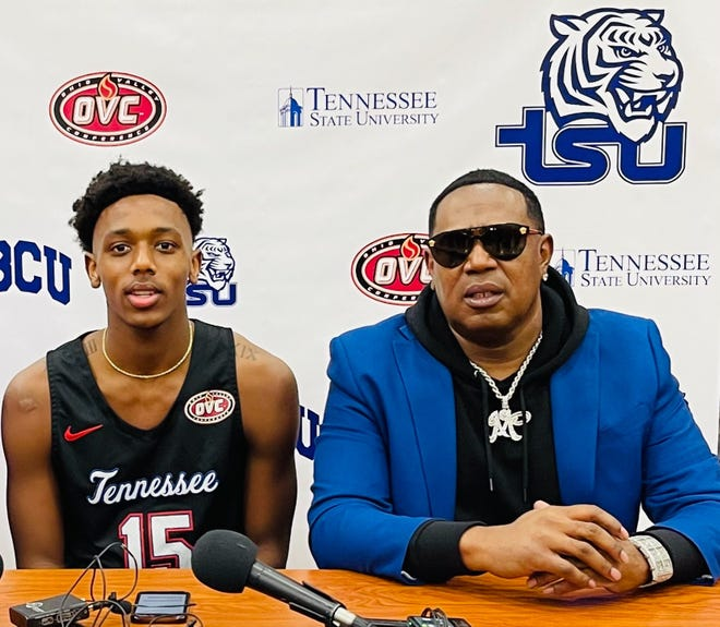 Hercy Miller, left, with his father hip-hop legend Master P., committed to play basketball Friday at Tennessee State.