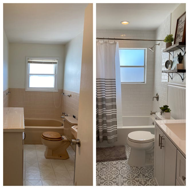 Copper Birch Restorations before and after of a bathroom.