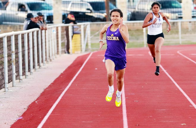 Ozona High School's Faith Quiroz runs the 200 meters in the March 25 Ozona Relays.