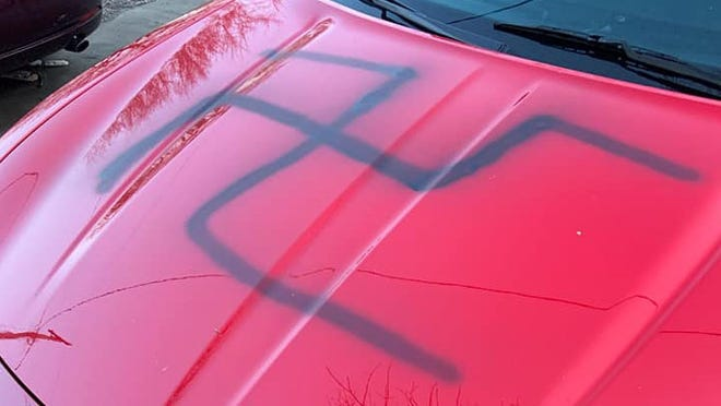 Josh Gadsden said his car was spray painted with a Nazi symbol and the n-word this week.