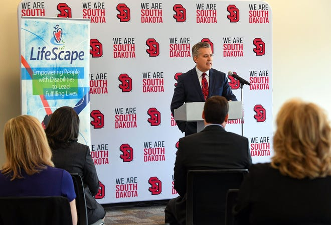 LifeScape CEO Steve Watkins speaks at a press conference co-hosted by the University of South Dakota and LifeScape on Friday, March 26, 2021 at the Wegner Health Science Library in Sioux Falls.