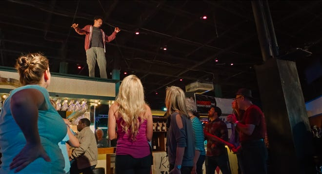 """Eric André's Chris readies for a ball fall in """"Bad Trip."""""""