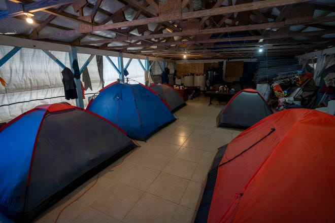 Migrants' tents are set up inside a shelter at the Senda de Vida shelter on Monday, March 22, 2021, in Reynosa, Tamaulipas, Mexico.