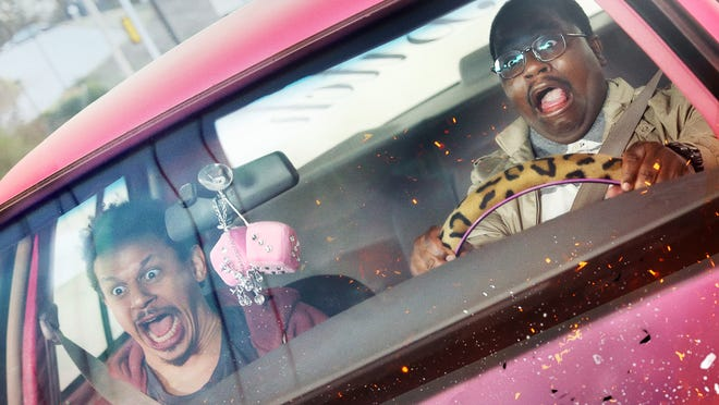 """Chris and Bud (Eric André and Lil Rel Howery) run into car problems with their sister's beloved wheels in """"Bad Trip."""""""