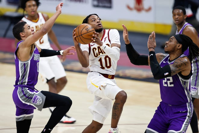 Cavaliers point guard Darius Garland is drawing more defensive attention and doing a better job of handling it, according to teammates. [Ron Schwane/Associated Press]