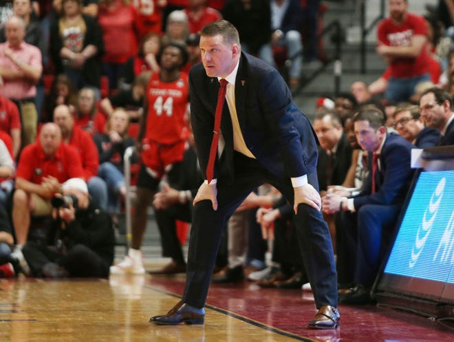 Texas Tech coach Chris Beard watches his team from the sideline.