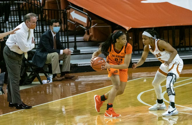Texas coach Vic Schaefer looks on as Kyra Lambert defends against Oklahoma State's Lauren Fields at the Erwin Center last month. UT is allowing 62.7 points per game.