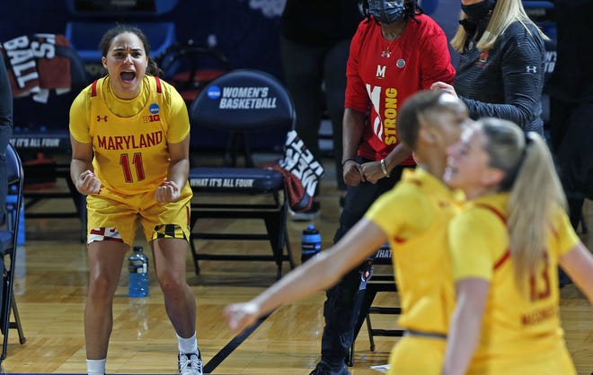 Maryland guard Katie Benzan (11) cheers on the reserves during a 100-64 win over Alabama at the Greehey Arena in San Antonio on Wednesday. A graduate transfer from Harvard, Benzan once pledged to play at Texas.