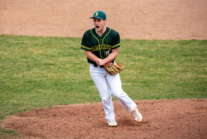 Blackhawk pitcher Alex Tomsic celebrates his first win as a Cougar after beating West Allegheny 2-1 Friday at Chippewa Park.