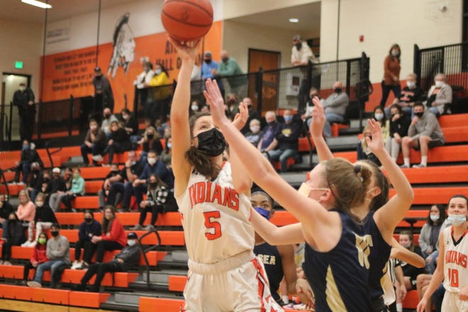 Tecumseh's Chesney Wilke goes up for a shot during Friday's Division 2 district final against Chelsea.