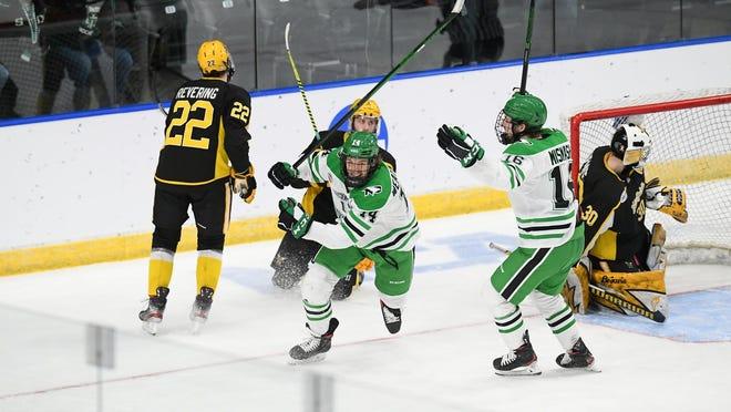 North Dakota defeated American International, 5-1, in NCAA Midwest Regional semifinals on March 26 at Scheels Arena in Fargo.