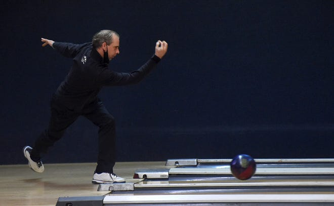 Mike Machuga shows his form in the 58th annual Times-News Open on Saturday at Lake City Lanes.