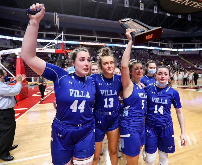 Villa Maria seniors acknowledge the student section after their 44-34 loss to Archbishop Wood in the PIAA Class 4A girls basketball championship Saturday at the Giant Center in Hershey.  From left are Kelley McKnight, Ainsley Thunell, Rachel Majewski and Ava Waid.