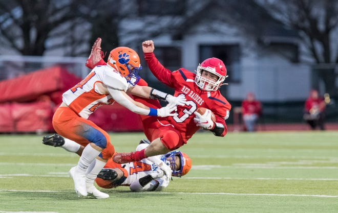 Hornell's Brennan Khork absorbs a hit during Friday's contest against Livonia on Friday evening in Hornell.
