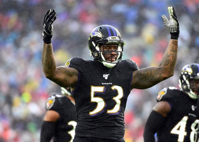 Jihad Ward, seen here in a 2019 game with the Baltimore Ravens against the San Francisco 49ers, hopes being reunited with Jaguars' defensive coordinator Joe Cullen can further elevate his NFL career.