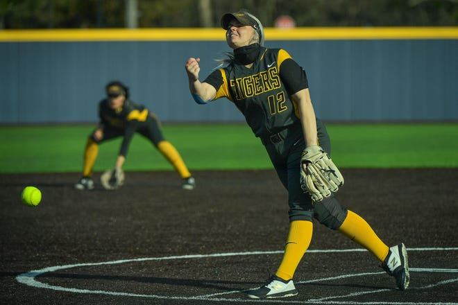 Fort Hays State's Michaelanne Nelson tossed a shutout to help the Tigers earn a doubleheader split on Friday against Washburn.