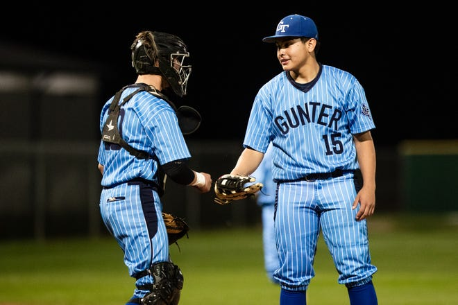 Gunter's Isaac Villanueva threw a no-hitter with 10 strikeouts and no walks while catcher Riekkhan Bostick was 3-for-3 with three doubles and three RBI against Pottsboro.