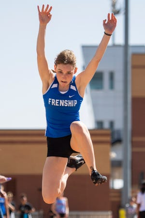Frenship's Jentre Kennedy competes in the triple jump at the Lubbock ISD Invitational  on March 26 at PlainsCapital Park at Lowrey Field. [Justin Rex/For A-J Media]