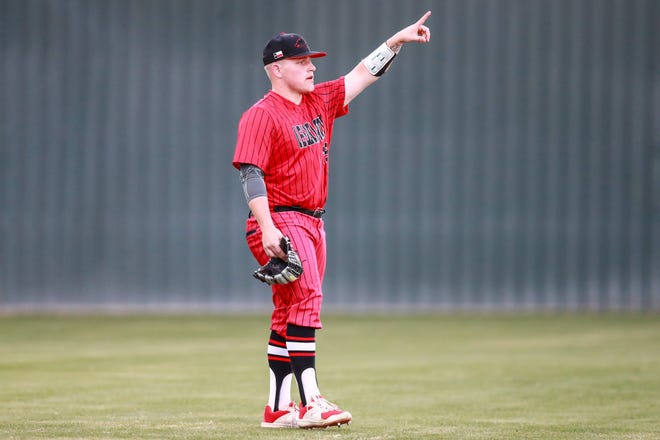 Levelland's Dylen Wolfe gestures during the game against Snyder on March 26 at Lobo Diamond in Levelland.