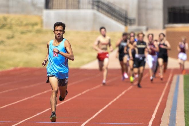 Monterey's David Mora comes in first on the 800 meter during the Lubbock Invitational track meet on Saturday March 27, 2021 at PlainsCapital Park at Lowrey Field in Lubbock, Texas.