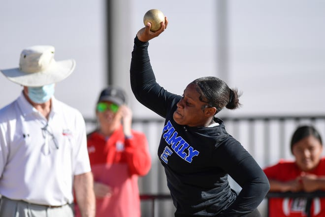 Estacado's Alahndra Cox throws the shot put at a UIL track and field meet Friday, March 26, 2021, at Lowry Field in Lubbock, Texas. [Justin Rex/For A-J Media]
