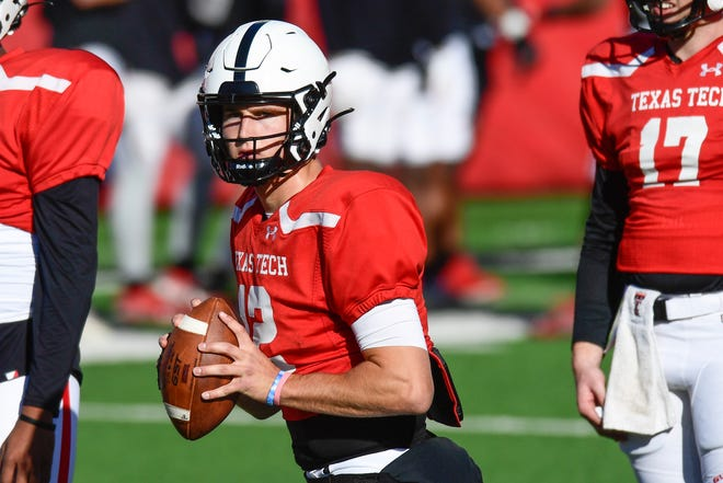 Texas Tech quarterback Tyler Shough sets up to pass during a recent spring football workout. Shough started every game for Oregon last season, but transferred to Tech last month.