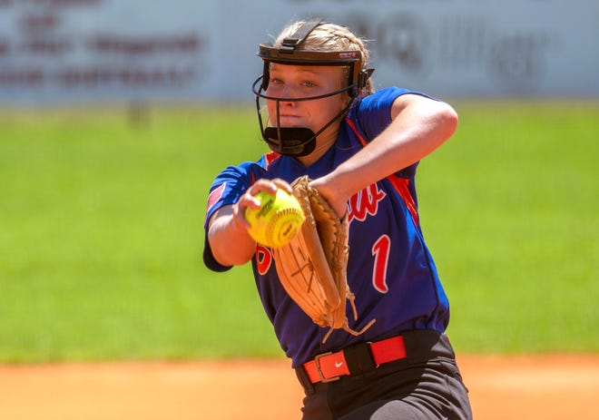 Bartow pitcher Mattye Geddings pitches to Auburndale in the first inning on Saturday in the championship game of the 2021 Bartow Tournament of Champions at Bartow High School.