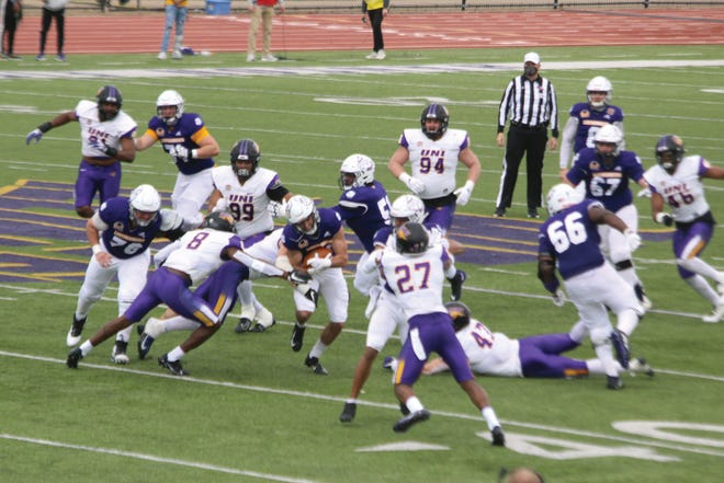 Western Illinois' offense moves the ball during Saturday's game against Northern Iowa.