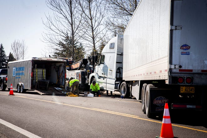 The area of Roosevelt Boulevard from North Seneca Road to North Bertelsen Road was closed Friday, March 26, 2021 due to a hazmat spill from a mechanical failure on a semitruck.
