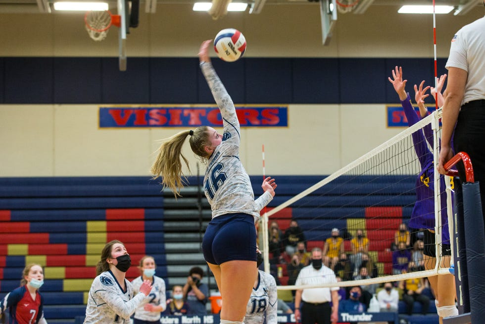 A rival coach says senior right-side hitter Rachel Scott, shown against Hononegah last year, is the key to whether Belvidere North makes it to state in girls volleyball this year.