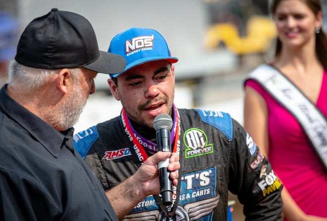 Chris Windom is interviewed after winning the 2018 USAC Silver Crown Tony Bettenhausen 100 on the Springfield Mile.