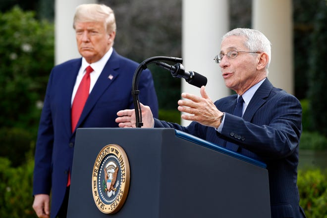 President Donald Trump listens as Dr. Anthony Fauci, director of the National Institute of Allergy and Infectious Diseases, speaks during a coronavirus task force briefing in the Rose Garden of the White House, Sunday, March 29, 2020. That day, Fauci warned that the coronavirus could kill 100,000 to 200,000 Americans and that millions of Americans could become infected.