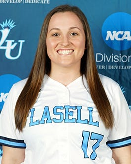 Former Doherty star Nicolette Genkos had three hits on the day and pitched a complete game in the nightcap of Lasell's softball sweep over Anna Maria.