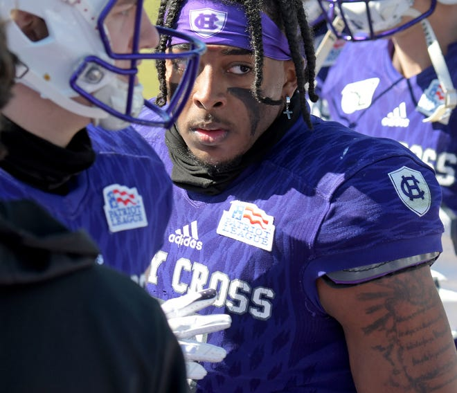 Defensive back John Smith, whose 58-yard interception return in the fourth quarter was key for Holy Cross, was named the Patriot League Championship MVP.