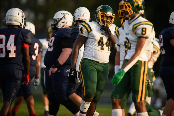 After a long wait, Pine Forest's Xavier Johnson (44) finally got an offer to play college football. He hopes his story will inspire others to never give up on pursuing their dreams.